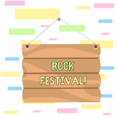 Writing note showing Rock Festival. Business concept for Largescale rock music concert featuring heavy metals genre Hook Up Blank Sign Plate. Empty Wooden Signboard with Lope for Hang