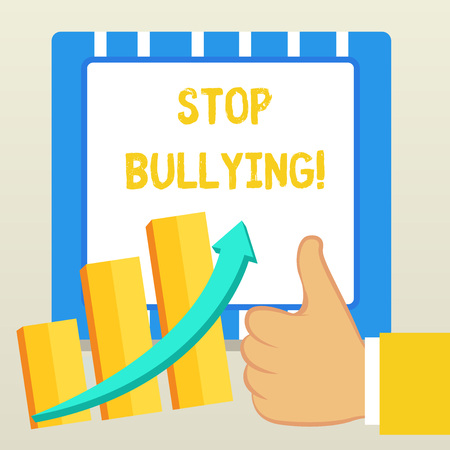 Word writing text Stop Bullying. Business photo showcasing stop the aggressive behaviour among school aged children Thumb Up Good Performance Success Escalating Bar Graph Ascending Arrow