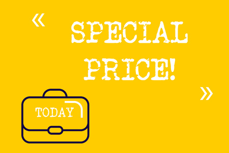 Word writing text Special Price. Business photo showcasing selling at a price that is lower than usual Discounted Brief Case Attache Case against Empty Copy Space with Quotation Marks