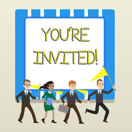 Word writing text You Re Invited. Business photo showcasing You are happily encouraged to attend and event or a party People Crowd Flags Pennants Headed by Leader Running Demonstration Meeting