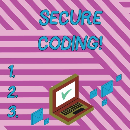 Handwriting text writing Secure Coding. Conceptual photo Applied to avoid the introduction of security vulnerabilities Color Mail Envelopes around Laptop with Check Mark icon on Monitor Screen