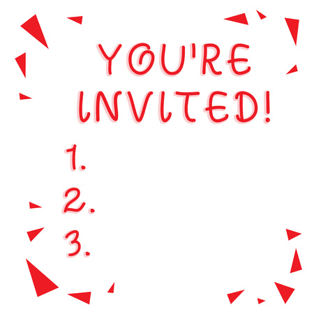 Text sign showing You Re Invited. Business photo showcasing You are happily encouraged to attend and event or a party Red Confetti Shrapnel Glass Pieces Scattered in Corners Empty Copy Space