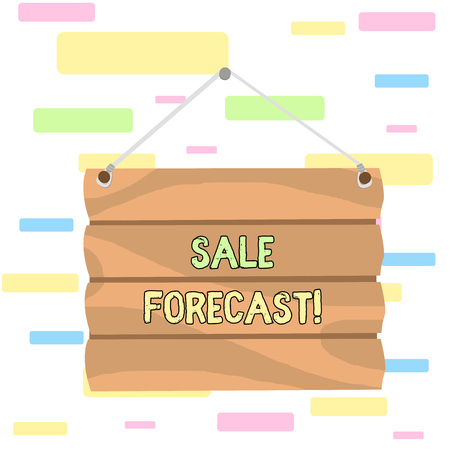 Writing note showing Sale Forecast. Business concept for the process of estimating future transactions or deals Hook Up Blank Sign Plate. Empty Wooden Signboard with Lope for Hang Stockfoto