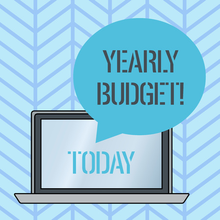 Writing note showing Yearly Budget. Business concept for A plan for a company s is expenditures for a fiscal year Round Shape Speech Bubble Floating Over Laptop Backdrop