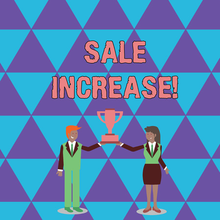 Conceptual hand writing showing Sale Increase. Concept meaning amount a company derives from sales compared to a previous Man and Woman Business Suit Holding Championship Trophy Cup 版權商用圖片