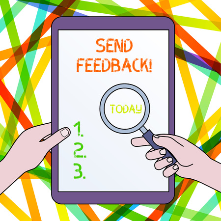 Handwriting text Send Feedback. Conceptual photo information or statements of opinion about something Hands Holding Magnifying Glass Against Switched Off Touch Screen Tablet
