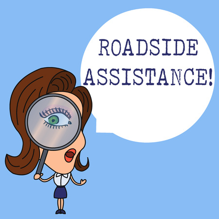 Writing note showing Roadside Assistance. Business concept for helps drivers when their vehicle breaks down on the road Woman Looking Trough Magnifying Glass Big Eye Blank Round Speech Bubble Archivio Fotografico
