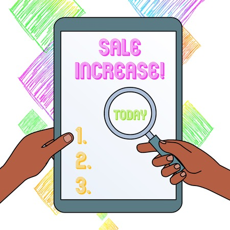 Writing note showing Sale Increase. Business concept for amount a company derives from sales compared to a previous Hands Holding Magnifying Glass Against Switched Off Touch Screen Tablet Imagens