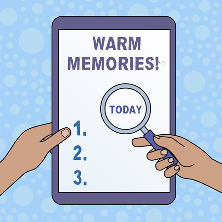Word writing text Warm Memories. Business photo showcasing Something that you remember with pleasure Sweet reminiscences Hands Holding Magnifying Glass Against Switched Off Touch Screen Tablet