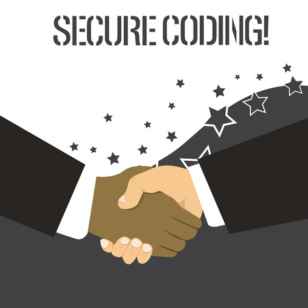 Word writing text Secure Coding. Business photo showcasing Applied to avoid the introduction of security vulnerabilities Hand Shake Multiracial Male Business Partners Colleagues Formal Black Suits Stock fotó