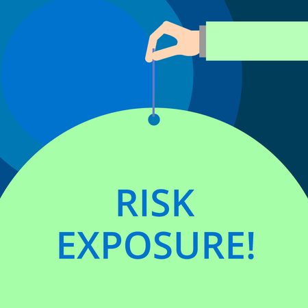 Word writing text Risk Exposure. Business photo showcasing the quantified potential loss that might occur in a business