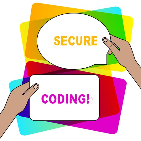 Handwriting text writing Secure Coding. Conceptual photo Applied to avoid the introduction of security vulnerabilities Two Blank Figured Tablets Signs Held in Hands One Above Other Text Space