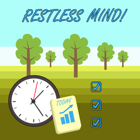 Word writing text Restless Mind. Business photo showcasing A demonstrating who overthinks Inability to remain at rest Uneasy Layout Wall Clock Notepad with Escalating Bar Graph and Arrow Pointing Up