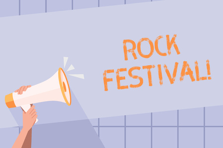 Handwriting text writing Rock Festival. Conceptual photo Largescale rock music concert featuring heavy metals genre Human Hand Holding Tightly a Megaphone with Sound Icon and Blank Text Space