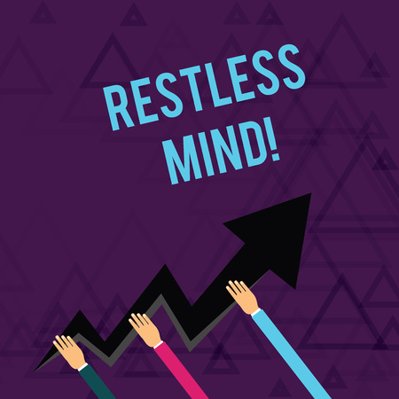 Writing note showing Restless Mind. Business concept for A demonstrating who overthinks Inability to remain at rest Uneasy Hands Holding Zigzag Lightning Arrow Pointing and Going Up Stock Photo - 123754547