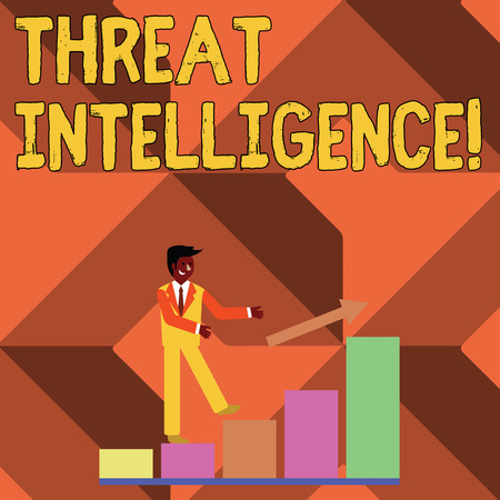 Text sign showing Threat Intelligence. Business photo showcasing analyzed and refined information about potential attacks Smiling Businessman Climbing Colorful Bar Chart Following an Arrow Going Up