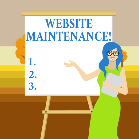 Text sign showing Website Maintenance. Business photo text act of regularly checking your website for issues White Female in Glasses Standing by Blank Whiteboard on Stand Presentation
