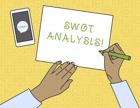 Conceptual hand writing showing Swot Analysis. Concept meaning framework used to evaluate a company s is competitive position Top View Man Writing Paper Pen Smartphone Message Icon