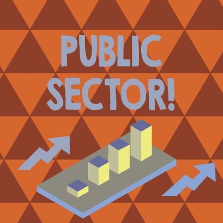 Conceptual hand writing showing Public Sector. Concept meaning the part of an economy that is controlled by the state Clustered 3D Bar Chart Graph in Perspective with Two Arrows Stock Photo