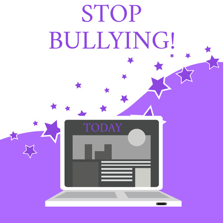 Text sign showing Stop Bullying. Business photo text stop the aggressive behaviour among school aged children Open Modern Laptop Switched On with Website Homepage on Screen Web Search