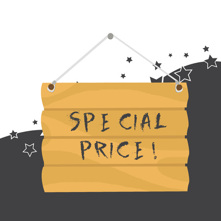 Handwriting text Special Price. Conceptual photo selling at a price that is lower than usual Discounted Hook Up Blank Sign Plate. Empty Wooden Signboard with Lope for Hang
