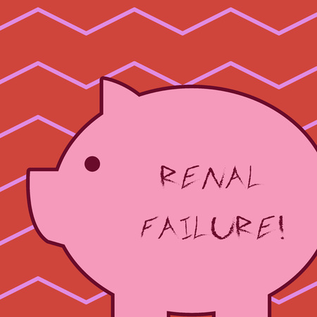 Word writing text Renal Failure. Business photo showcasing medical condition in which the kidneys no longer function Fat huge pink pig plump like piggy bank with sharp ear and small round eye