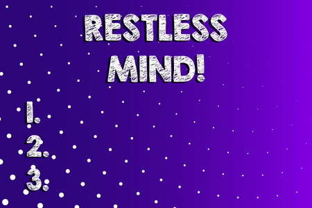 Text sign showing Restless Mind. Business photo showcasing A demonstrating who overthinks Inability to remain at rest Uneasy Lilac Violet Background White Polka Dots Scattered in Linear Perspective Stock Photo