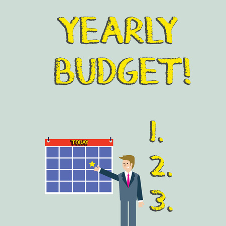 Handwriting text Yearly Budget. Conceptual photo A plan for a company s is expenditures for a fiscal year Businessman Smiling and Pointing to Colorful Calendar with Star Hang on Wall