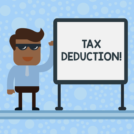 Conceptual hand writing showing Tax Deduction. Concept meaning amount subtracted from income before calculating tax owe Office Worker Sunglass Blank Whiteboard Meeting Presentation