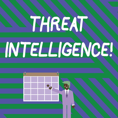 Handwriting text writing Threat Intelligence. Conceptual photo analyzed and refined information about potential attacks Businessman Smiling and Pointing to Colorful Calendar with Star Hang on Wall