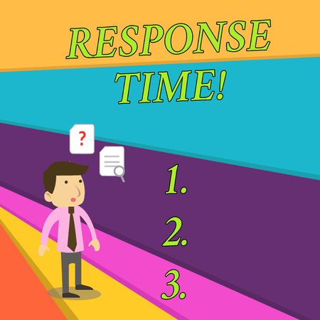 Handwriting text Response Time. Conceptual photo The amount of time that a demonstrating or system takes to react Young Male Businessman Office Worker Standing Searching Problem Solution Banque d'images - 123766834