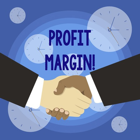 Conceptual hand writing showing Profit Margin. Concept meaning amount by which revenue from sales exceeds costs in a business Hand Shake Multiracial Male Business Partners Formal Suits Stok Fotoğraf