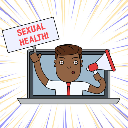 Word writing text Sexual Health. Business photo showcasing Ability to embrace and enjoy sexuality throughout our lives Man Speaking Through Laptop Screen into Megaphone Blank Plate with Handle
