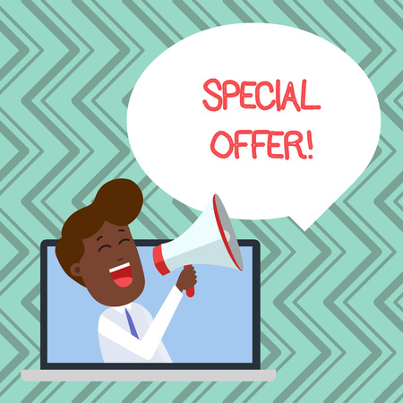 Word writing text Special Offer. Business photo showcasing product or service that is offered free or at a very low price Man Speaking Through Laptop into Loudhailer Blank Speech Bubble Announce