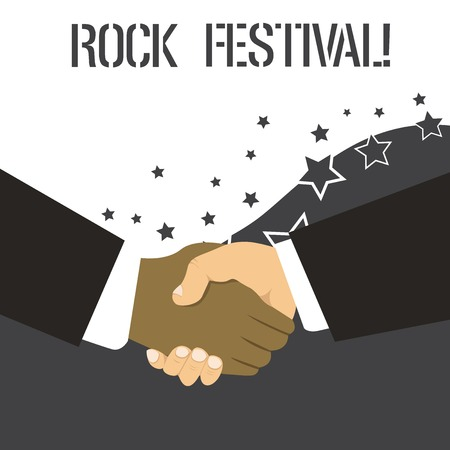 Word writing text Rock Festival. Business photo showcasing Largescale rock music concert featuring heavy metals genre Hand Shake Multiracial Male Business Partners Colleagues Formal Black Suits