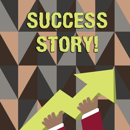 Word writing text Success Story. Business photo showcasing someone or something that has attain a goal Successful demonstrating photo of Hand Holding Colorful Huge 3D Arrow Pointing and Going Up
