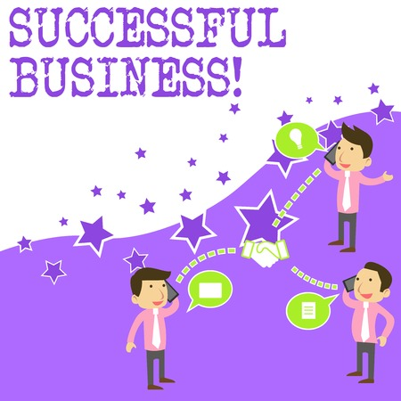 Text sign showing Successful Business. Business photo showcasing Achievement of goals within a specified period of time Businessmen Coworkers Conference Call Conversation Discussion Mobile Phones 스톡 콘텐츠