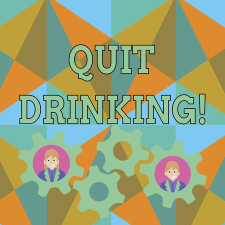 Text sign showing Quit Drinking. Business photo text involves staying away from consuming alcoholic beverages Two Business People Each Inside Colorful Cog Wheel Gears for Teamwork Event Zdjęcie Seryjne
