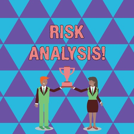 Conceptual hand writing showing Risk Analysis. Concept meaning review of the risks associated with a particular event Man and Woman Business Suit Holding Championship Trophy Cup