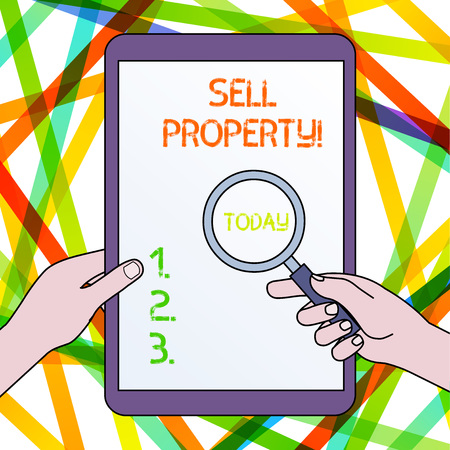 Handwriting text Sell Property. Conceptual photo Accepting an offer of money in return for the property Hands Holding Magnifying Glass Against Switched Off Touch Screen Tablet