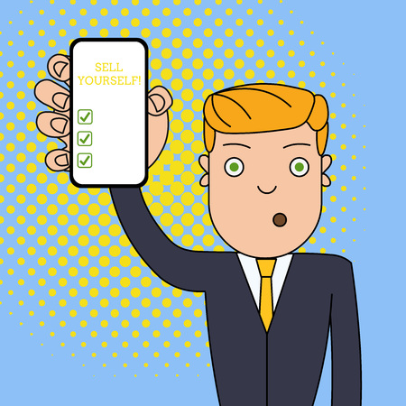Writing note showing Sell Yourself. Business concept for to make yourself seem impressive or notable to other showing Man Holding Vertical Smartphone Device Screen for Attention 写真素材