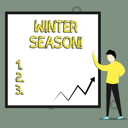 Conceptual hand writing showing Winter Season. Concept meaning the coldest season of the year in polar and temperate zones Imagens