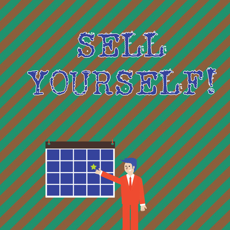 Word writing text Sell Yourself. Business photo showcasing to make yourself seem impressive or notable to other showing Businessman Smiling and Pointing to Colorful Calendar with Star Hang on Wall