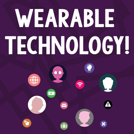 Text sign showing Wearable Technology. Business photo text electronic devices that can be worn as accessories Networking Technical Icons with Chat Heads Scattered on Screen for Link Up