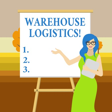 Text sign showing Warehouse Logistics. Business photo text flow of both physical goods and information in business White Female in Glasses Standing by Blank Whiteboard on Stand Presentation