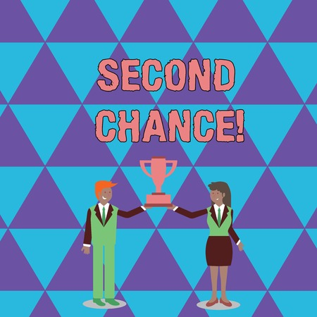 Conceptual hand writing showing Second Chance. Concept meaning opportunity to try something again after failing one time Man and Woman Business Suit Holding Championship Trophy Cup