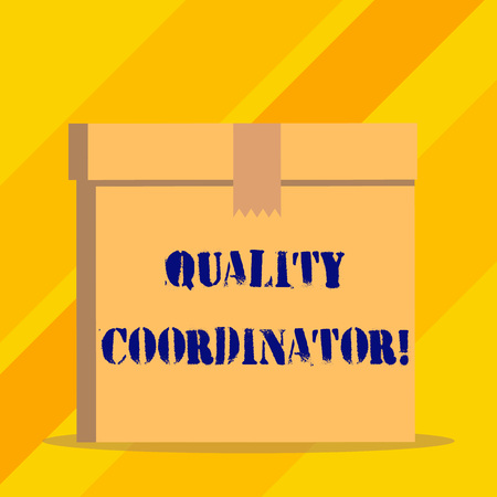 Writing note showing Quality Coordinator. Business concept for monitor and improve the quality of analysisufactured products Stockfoto