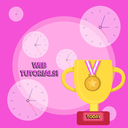 Writing note showing Web Tutorials. Business concept for Self study activity aimed to teach a specific learning outcome Trophy Cup on Pedestal with Plaque Medal with Striped Ribbon