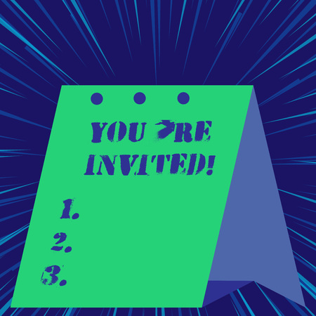 Text sign showing You Re Invited. Business photo showcasing You are happily encouraged to attend and event or a party Stock Photo