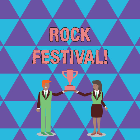 Conceptual hand writing showing Rock Festival. Concept meaning Largescale rock music concert featuring heavy metals genre Man and Woman Business Suit Holding Championship Trophy Cup 스톡 콘텐츠